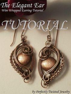 Wire TUTORIAL, Wire Wrapped Earrings, The Elegant Ear, Wire Jewelry Pattern, Making Wire Jewelry