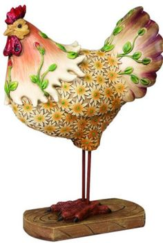 Rooster with Flowers - Figurine