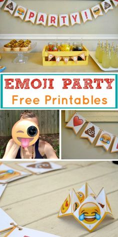 Look no further for Emoji party ideas! This is a theme that is fun for all, and the emoji party package is perfect to use at your next celebration. Use our FREE printables and throw a low-cost emoji party of your own with the use of Emoji bunting, cootie 9th Birthday Parties, Diy Birthday, Birthday Ideas, 10th Birthday, Birthday Emoji, Teenager Party, Party Printables, Free Printables, Printable Planner