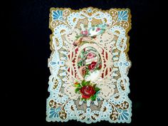 Victorian Edwardian Valentine Card Pop Up Die Cut 3D Embossed Paper Lace Ephemera Red Roses Wedding Anniversary Birthday Collector Gift