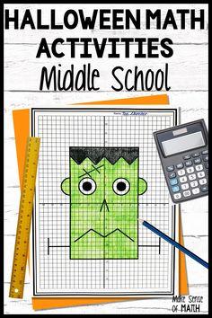 Algebra Games, Graphing Activities, Letter Activities, Math Classroom, Classroom Ideas, Teaching Math, Teaching Ideas, Halloween Math Worksheets, Seventh Grade Math