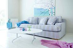 Bemz cover for a Goteborg sofa in Prisma Stripe Egg Shell Blue. www.bemz.com
