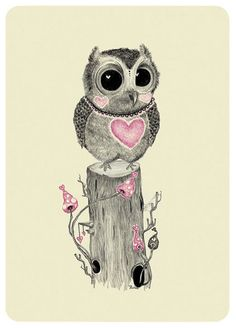 pink hearted owl