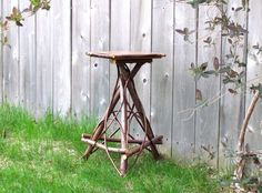 Vintage Inspired Rustic Maple Twig Bentwood Side Table  Plant Stand