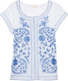 Embroidered Cotton Blouse - Lyst