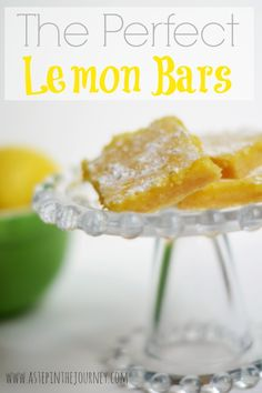 These are the PERFECT Lemon Bars! Find the recipe at http://www.astepinthejourney.com
