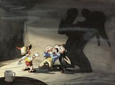 "Concept art by Gustaf Tenggren for Disney's ""Pinocchio""."