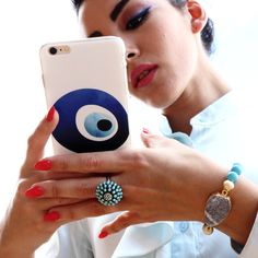 """iEvil Eye Blue & White IPhone Case 6/6S Evil Eye Jewelry protects one from negative energy. The Evil Eye is a """"Luck Charm"""" believed to """"reflect evil"""" and protects you against bad luck, bad eye and mis"""