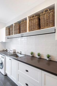 "39 Perfect Laundry Room Designs Ideas For Small Space - OMGHOMEDECOR - Visit our site for even more information on ""laundry room storage diy"". It is a superb location - Laundry Room Shelves, Farmhouse Laundry Room, Small Laundry Rooms, Laundry Room Organization, Laundry In Bathroom, Laundry Hamper, Laundry Storage, Laundry Drying Racks, Ikea Laundry Room Cabinets"