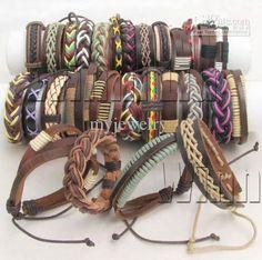 Wholesale Fashion Jewelry Mix Lots 36 Assorted Handmade Leather amp; Hemp Surfer Bracelets Chain B39536, $0.91-1.15/Piece | DHgate