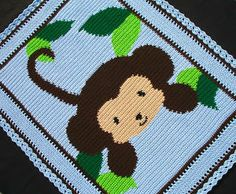 Crochet Patterns - BABY JUNGLE MONKEY Afghan Pattern