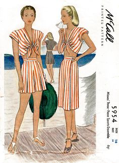 1940s 40s McCall 5954 vintage sewing pattern front tie crop top playsuit high waist shorts sun skirt beachwear sports ensemble bust 34 b34