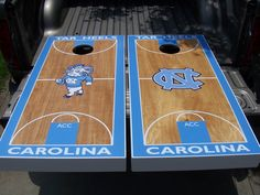 North Carolina Tar Heel cornhole set on Etsy