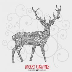 Christmas Card with Artistic Reindeer Free Vector