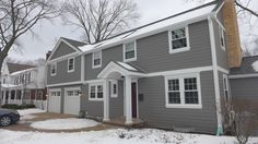 James Hardie Siding in Aged Pewter with Arctic White Trim Certainteed Roofing in Driftwood House Siding, House Paint Exterior, Exterior Siding, Exterior House Colors, Certainteed Siding, Outdoor Paint Colors, Siding Colors, House Deck, Farmhouse Style