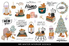 Ad: Christmas interior & lettering by Ruslana Vasiukova on @creativemarket. Tadaaam! On the calendar is October, but I already want a Christmas))) I really want to get a Christmas tree, New Year's toys, candles and #creativemarket