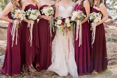 Northern Colorado and Wyoming Wedding Photography - Summer Mountain Wedding Inspiration Bridesmaids in Red, Pink, Raspberry
