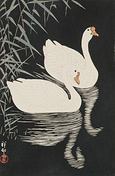 "Japanese Art Print ""Reeds and Geese (Yoshi ni Gacho)"" by Ohara Koson. Shin Hanga and Art Reproductions http://www.amazon.com/dp/B016W1TDZ8/ref=cm_sw_r_pi_dp_uBctwb06C333Q"