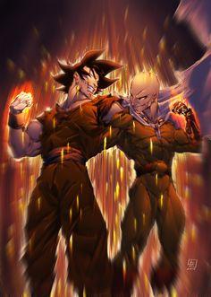 Goku and Saitama Dragon Ball x One Punch Man One Punch Man Manga, Wizyakuza Anime, Saga Dragon Ball, Saitama One Punch Man, Goku Vs, Susanoo, Male Cosplay, Cartoon Crossovers, Good Day Song