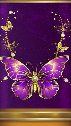 By Artist Unknown. - Wallpaper… By Artist Unknown… - Blue Butterfly Wallpaper, Cute Galaxy Wallpaper, Heart Wallpaper, Purple Wallpaper, Love Wallpaper, Cellphone Wallpaper, Wallpaper Backgrounds, Iphone Wallpaper, Paper Butterflies