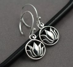 lotus earring sterling silver