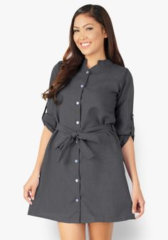 Enjoy the most classy, chic look wearing this dark chambray button down dress. Chic Chinese collar makes this a stylish wear all day long! Office Dresses, Casual Dresses, Chinese Collar, Designer Party Dresses, Sunday Dress, Classy Chic, Button Down Dress, Chambray, Woven Fabric
