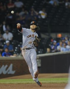 San Francisco Giants shortstop Brandon Crawford (35) throws an out in a baseball game against the Chicago Cubs on Wednesday, Aug. 20, 2014, in Chicago. (AP Photo/Matt Marton)