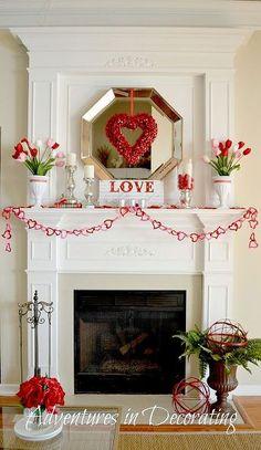 simple valentine mantel