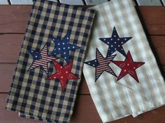 Patriotic Homespun Tea Towel Appliqued Set of by quiltedoccasions, $19.00