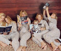 The daily menu includes walks on the beach and afternoons spent reading. Theodora, Ella, Patti, Ida, Lucie, and Alexandra—all wearing Araks pajamas.