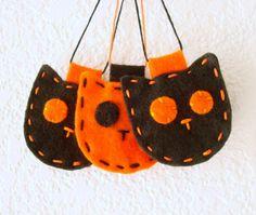 Halloween Decorations Felt Ornament Set Cats. on Etsy.