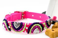 Pink Beaded Dog Collar, Pink Pet Collar, Multicolored Dog Collar, Neon Pink Dog Collar, Beaded Pet C Beaded Dog Collar, Pink Dog Collars, Clay Beads, Dog Leash, Metal Buckles, Pet Accessories, Dog Design, Silver Beads, Pretty In Pink