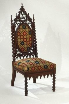 1840-1860 American Side chair at the Museum of Fine Art, Boston - This piece was created during a time of Gothic revival in decorative art and architecture.  The designs on the chair are reminiscent of the pointed Gothic arches from Medieval Europe, and the colourful upholstery is inspired by Medieval stained glass, such as would be seen in cathedrals and manor houses.