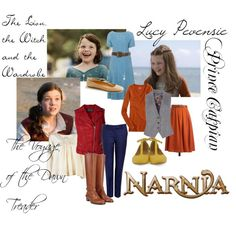 """Lucy Pevensie"" by missmckennaray on Polyvore << Unsurprisingly, I like the feel of these. I don't like orange, and would use actual bodices instead of vests, but otherwise, I like it. :)"