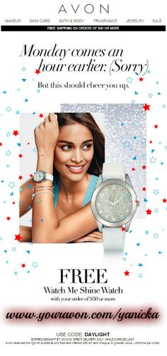 #SpringForward with #Avon this #weekend!  Use #code: DAYLIGHT to get this cute #sparkle #watch with purchase! https://yanicka.avonrepresentative.com/  #spring #bling #fashion #daylightsavings #timechange #gwp #gifts #free #deals #onlineshopping
