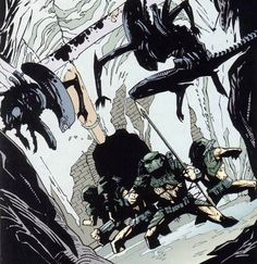 """Aliens vs Pedator: Eternal"" (1998) Art by Glenn Fabry #DarkHorseComics #Aliens #Predator"
