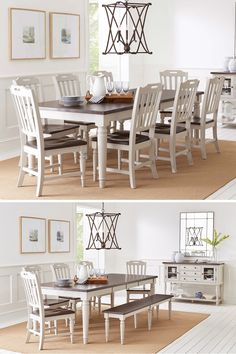 A striking pairing of a rich, dark top with a soft grey base, the Orchard Park Dining Table & 8 Chairs provides an inviting stage for entertaining. With two extension table leafs able to accommodate up to eight people each, this group was made for dinner parties and family dinners. Purchase online or in-store at Great American Home Store in Memphis, TN, and Southaven, MS. #diningroom #diningroomfurniture #diningtable #familydinner #dining #boardgamenight #dinnerparties #shopgahs #ohmygahs