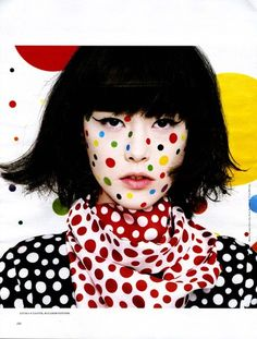 "Joanna Schlenzka styles ""Kusama"" in Interview Russia with makeup by Georgina Graham, June 2012"