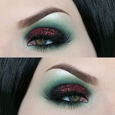 Holiday look round one! Products used: BROWS: @anastasiabeverlyhills dipbrow pomade in Ebony EYES: Brow bone highlight is @maccosmetics Nylon, green is a mix of Hatter from the @urbandecaycosmetics full spectrum palette and Scarab from @katvondbeauty Serpentina palette. Red glitter on the lid is @litcosmetics Heartbreaker. Liner is @katvondbeauty tattoo liner in Trooper LASHES: @toofaced Better than sex mascara, lashes are @hudabeauty 'Farah'