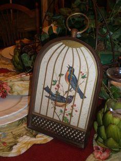 Antique Vintage Framed Bluebirds In Birdcage by NeldaMaesCloset, $21.50