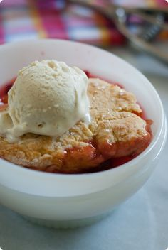 Stone Fruit and Raspberry Cobbler from @bakeat350