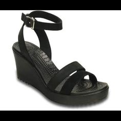 Like New! It's the wedge you can wear all day — gives you the look you want and the comfort you love. You get a cushiony Croslite™ foam footbed and a heel that delivers height without compromising comfort. Women's Crocs, Crocs Shoes, Shoes Heels, Flats, Flat Boots, Shoe Boots, 3 Inch Heels, Strappy Sandals