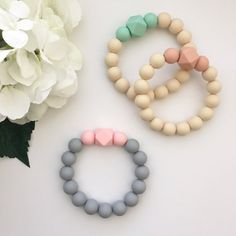 Hexagon Silicone Teething Bracelet for Mom by NomNomNecklaces