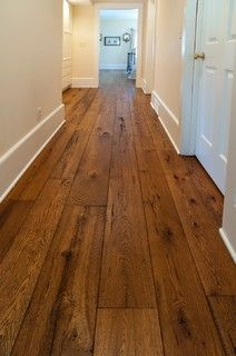 I love wide plank wood. The Olde World look has been growing steadily in popularity and our wide plank livesawn White Oak offered with custom finishing options has been a real hit! Contact us for samples in your choice of stain and finish. Hardwood Floor Colors, Dark Hardwood, Engineered Hardwood Flooring, Hardwood Floors Wide Plank, Parquet Flooring, Vinyl Flooring, Wide Plank Wood Flooring, Cheap Wooden Flooring, Cheap Flooring Ideas
