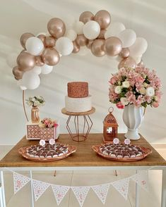Simple Birthday Decorations, Bridal Shower Decorations, 18th Birthday Party, Birthday Party Themes, Birthday Ideas, Girl Decor, Gold Party, Party Fiesta, Instagram