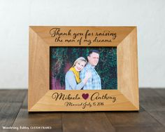 Custom 4x6 Picture Frame Thank You Gift for Parents Wedding