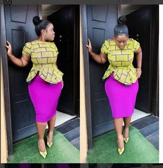 Most stylish african print ankara peplum top styles for plus size ladies, trendy big and beautiful plus size ladies ankara styles, curvy and thick ladies ankara styles Ankara Long Gown Styles, Trendy Ankara Styles, Kente Styles, Ankara Gowns, Dress Styles, African Dresses For Women, African Print Dresses, African Attire, African Wear