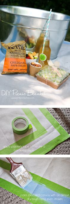DIY picnic-blanket - tarp + paint...sure it could be a good beach blanket too! @Robin Perez