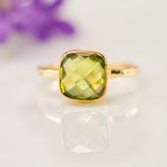 Valentine's Day - Cushion Cut Peridot Ring - Bezel Ring  - Gemstone Ring- Gold Ring - August Birthstone Ring -. $66.00, via Etsy.