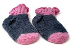 Baby Socks  Hand Knit Pink and Gray Baby Socks by PointedNeedle, $15.00